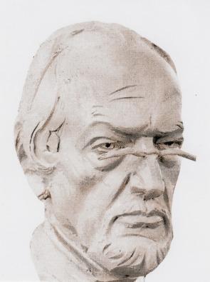 Kurtfritz Handel (1941-2015): Hans Bergel. Porträtstudie in Ton, unvollendet, 2015