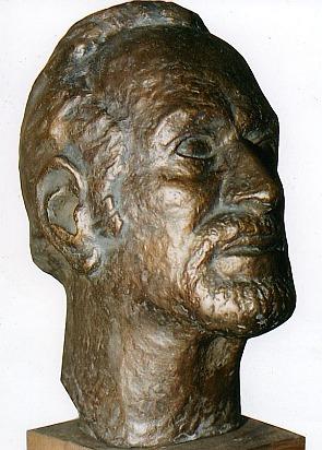 Hans Bergel, 1988. Bronzebüste von Hans-Wolfram Theil (1921-2003)